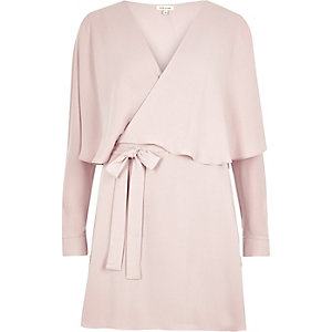 Pink wrap cape dress