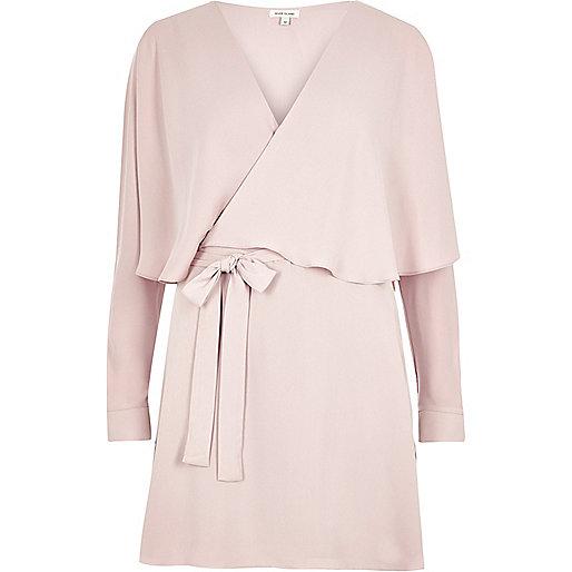 Pink wrap cape dress