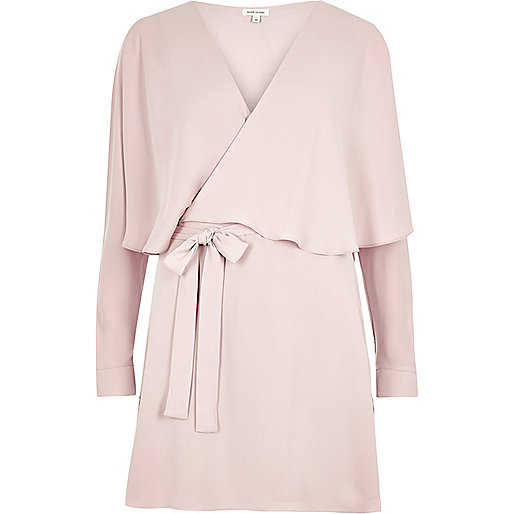 Robe cape cache-cœur rose
