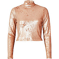 Blush pink sequin turtleneck crop top