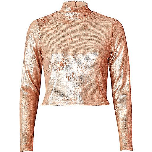 Blush Pink Sequin Turtleneck Crop Top Crop Tops
