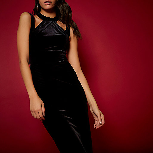RI Studio black velvet bodycon dress