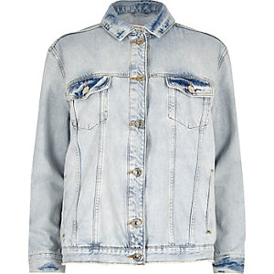 Light blue ripped diamanté denim jacket