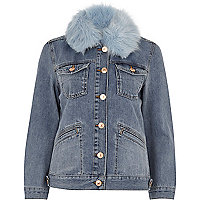 Mid blue faux fur trim denim jacket