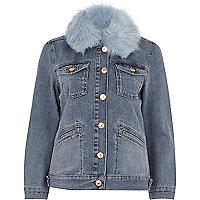 Veste en jean bleu moyen avec bordure en fausse fourrure