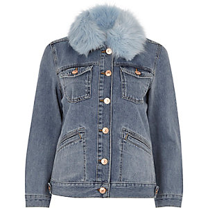 Mid blue faux fur trim denim jacket