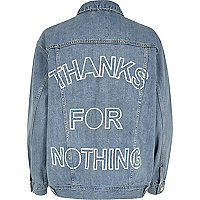 Light blue slogan back print denim jacket
