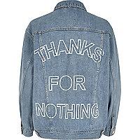 Hellblaue Jeansjacke mit Sloganprint hinten