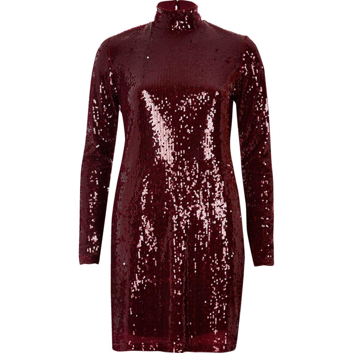 Red turtleneck sequin dress