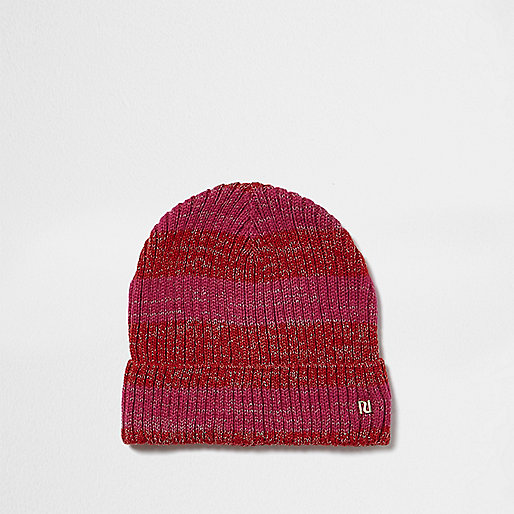 Pink metallic stripe knit beanie