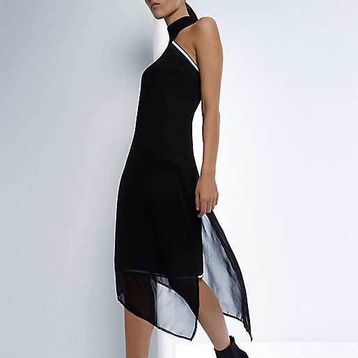 RI Studio black chiffon mesh asymmetric dress