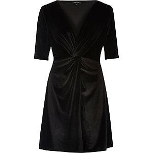 Black knot front velvet skater dress