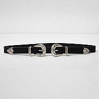 Black double buckle western belt