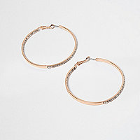 Rose gold jewel encrusted hoop earrings