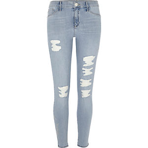 Light blue embroidered going out jeggings