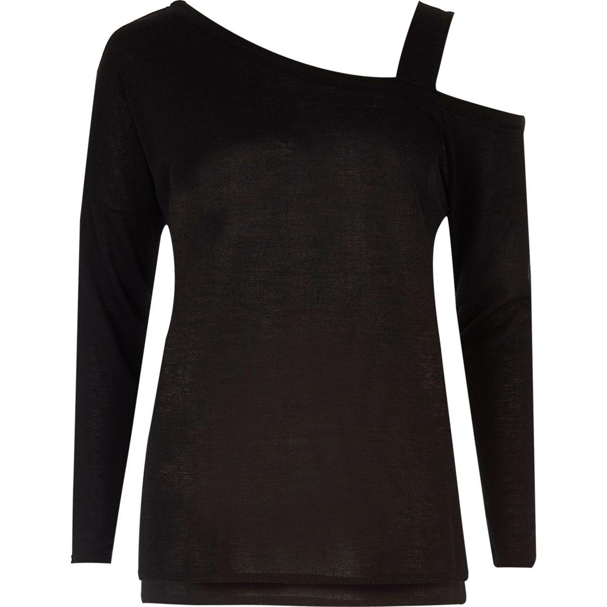 Zwarte gebreide asymmetrische top met ontblote schouder
