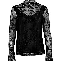 Black lace frill flared sleeve top