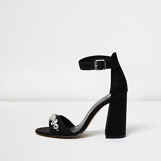 Black embellished block heel sandals