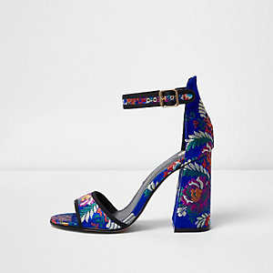 Blue print block heel sandals