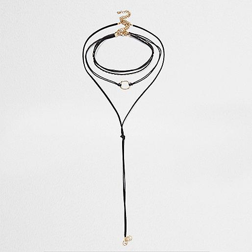 Lot de colliers avec ras-de-cou multirangs et pendentif à strass