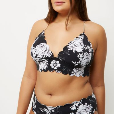 Plus black floral print scallop bikini top