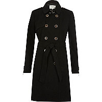 Black zip cuff trench coat