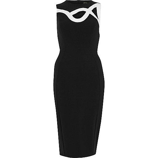 Black swirly bodycon dress