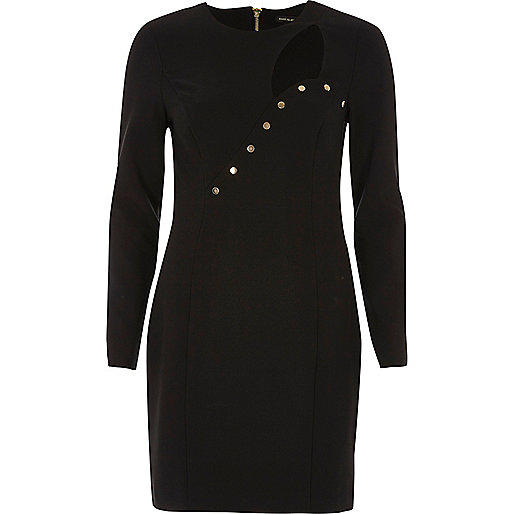 Schwarzes Bodycon-Kleid mit Knöpfen und Zierausschnitt