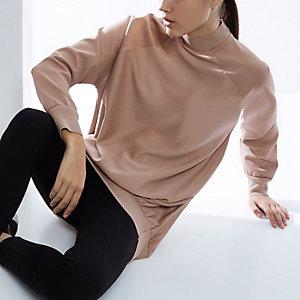 RI Studio pink satin sweater tunic