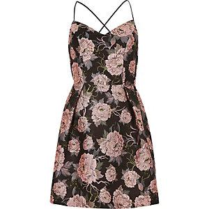 Pink floral strappy skater dress