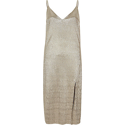 Gold metallic midi slip dress