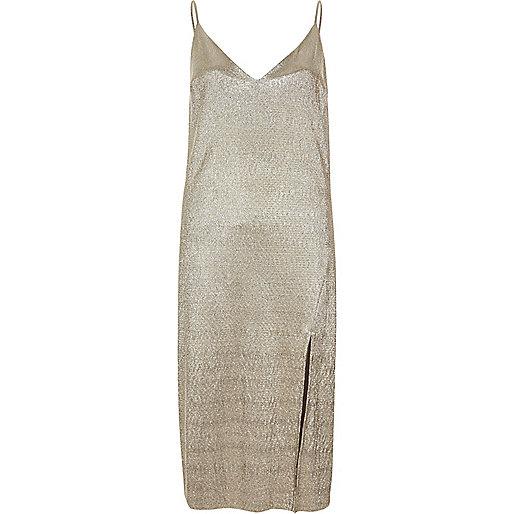 Gold metallic midi slip dress