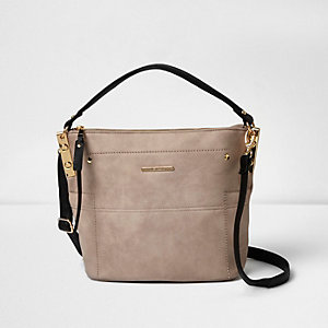Nude black strap mini bucket bag