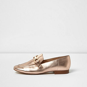 Rose gold soft loafers