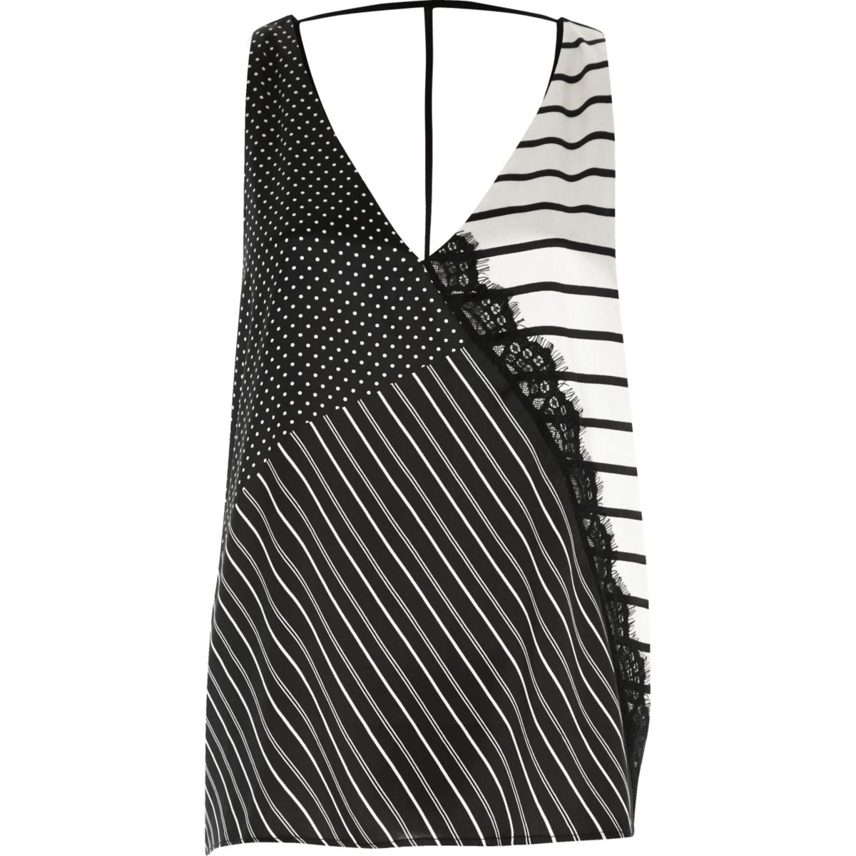 Black stripe T-bar cami top