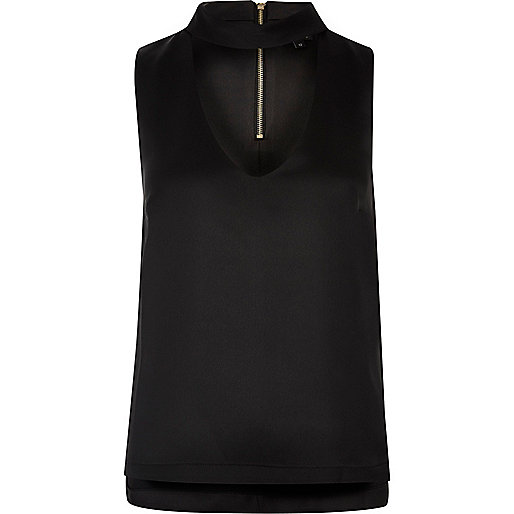 Black sleeveless choker neck top
