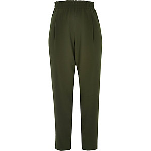 Khaki soft tapered high rise trousers