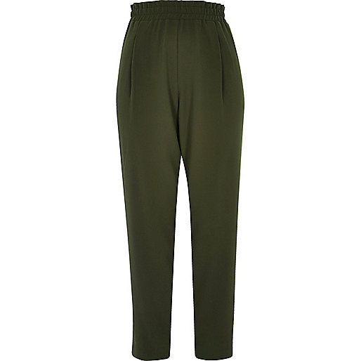 Khaki soft tapered high rise pants