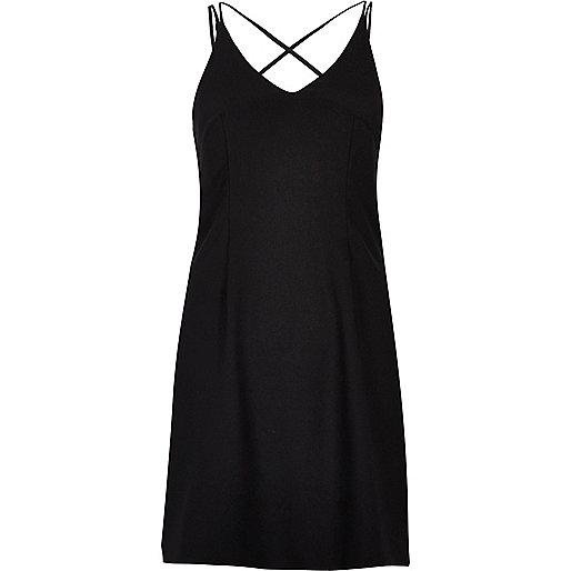 Black strappy slip dress