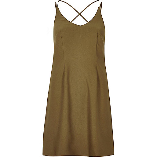 Khaki strappy slip dress