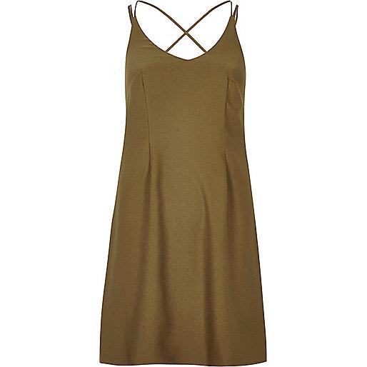 Khaki strappy slip dress