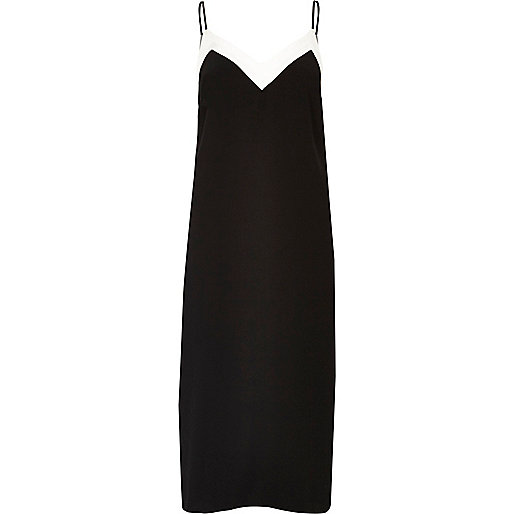 Black block panel slip dress