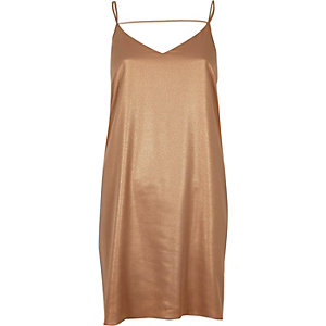 Bronze slip dress