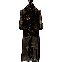 Black print cold shoulder maxi dress