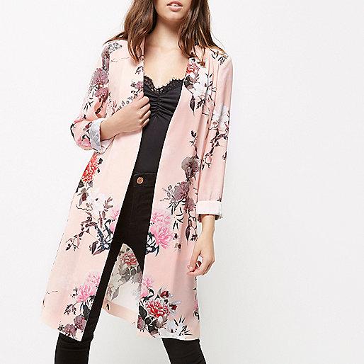 Petite pink floral print duster coat