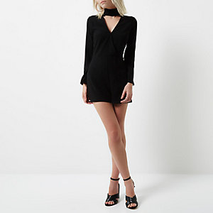 Petite black choker neck playsuit