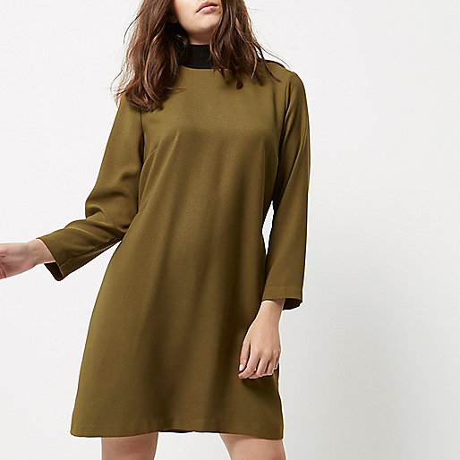 Petite khaki green contrast neck shift dress