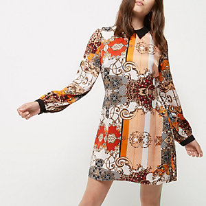 Petite orange print collar shift dress