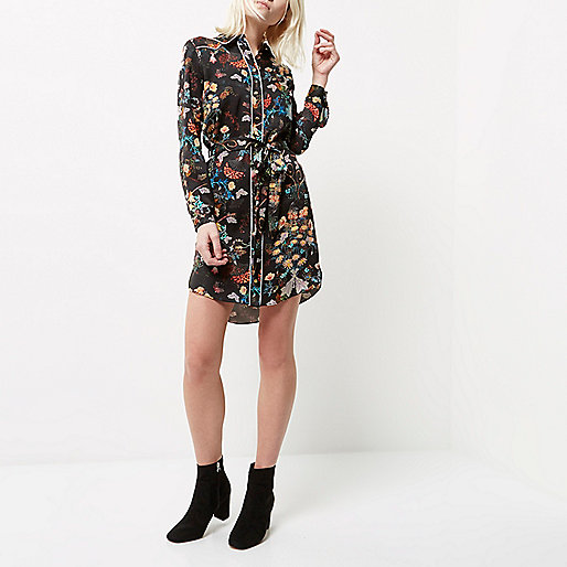 Petite black floral print shirt dress