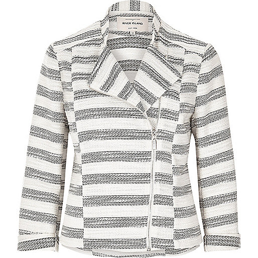 Grey stripe tweed biker jacket